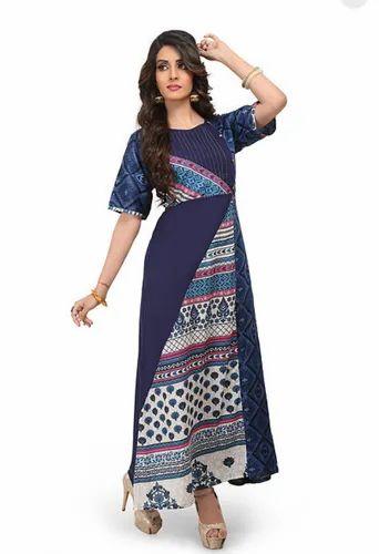 65065b9f22 Womens Designer Kurti - Voolka Women Stitched Blue Printed Kurti  Manufacturer from Surat