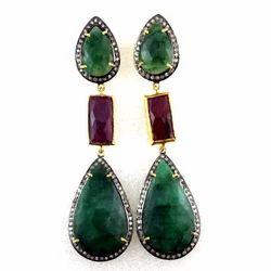 Emerald Ruby Diamond Earring