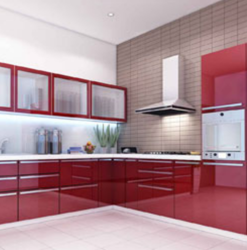 Modular Kitchens Red White Color Modular Kitchen Wholesale Sellers