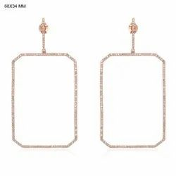 Gold Diamond Octagon Dangle Earrings