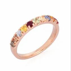 Multi Sapphire Gemstone 10K Rose Band Ring
