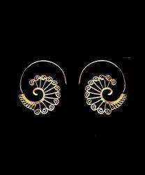 Brass Cut Work Lady Earring