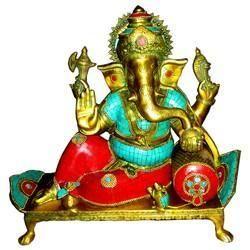 Brass Sitting Ganesha With Stone Work