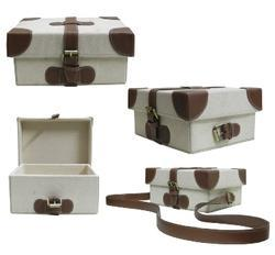MDF Canvas Fabric Box With Leatherette Strips