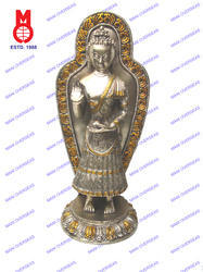 Lord Buddha Standing On Round Base W / Plate Statue
