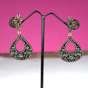 Pave Diamond Sterling Silver Dangle Earrings