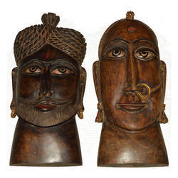 Wooden Rajasthani Kaka Kaki Face