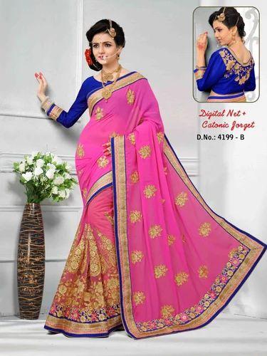 40b25ad642e63d Designer Saree - Rani Pink Digital Net & Catonic Jorget Designer ...
