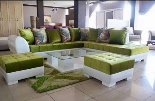 Green White L Shape Sofa Set