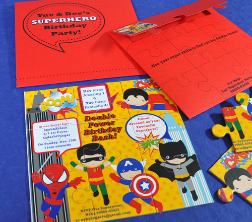 Birthday Invite Superhero Cards