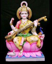 Handmade Marble Saraswati Maa Statue