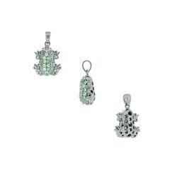 Gemstone Silver Frog Pendant