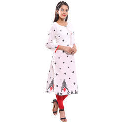 Black & Red Printed Kurti