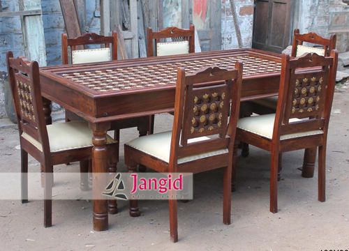 Indian Handmade Furniture Wooden Hand Carved Dining Room Furniture
