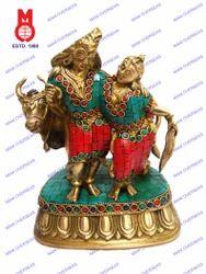 Lord Shiv Parvati Standing W/ Nandi W/ Stone Statue