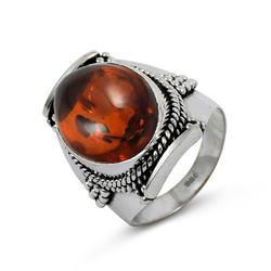 Flamboyant Amber Gemstone 925 Silver Ring