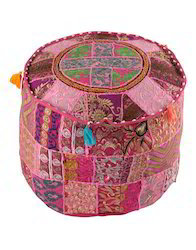 Magenta Pink Floral Embroidered And Patchwork Cotton Pouf
