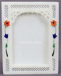 White Marble Stone Inlay Photo Frame