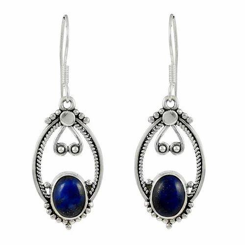 Semi Precious Lapis Gemstone Sterling Silver Earrings