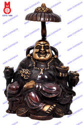 Laughing Buddha Sitting On Chair W/Coins Statue