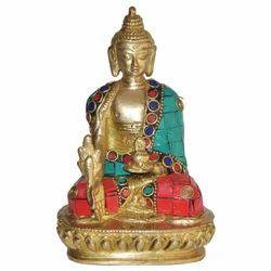 Brass Buddha With Stone Work