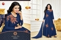 Embroidered Blue Round Neck Moof Salwar Suit Fabric