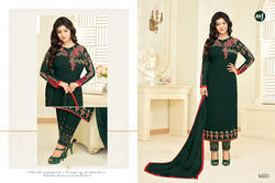 Dark Green Georgette Heavy Embroidered Women's Salwar Suit