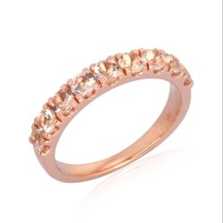 White Topaz 10K Rose Gold Band Ring Jewelry