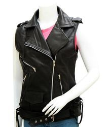 Sleeveless Ladies Leather Jackets
