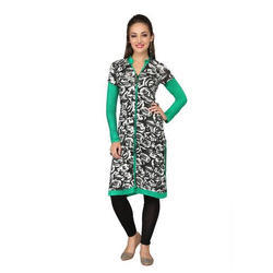 Ira Soleil White & Green Printed Viscose Knitted Stretchable