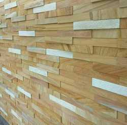 Teak Wood and White Sandstone Wall Cladding Tiles