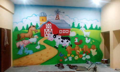 Primary School Wall Paintings School Room Cartoon Wall Painting