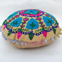 Designer Yellow Embroidered Cushion