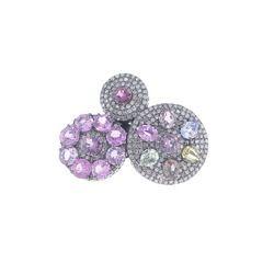 Pave Diamond Sapphire Designer Ring