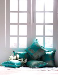Aqua Green Paisley Printed Poly Dupion Cushion Cover