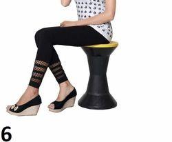Black Printed Cotton Lycra Leggings