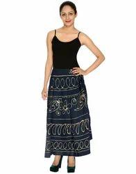 Printed Circle Wrap Around Cotton Skirt