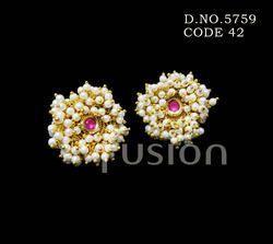 Pearl Kundan Stud Earrings