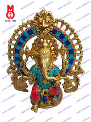Lord Ganesh W/Designer Yelly Ring & Stone Sculpture