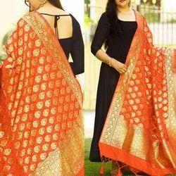 Partywear Anarkali Suit Banarasi Dupatta