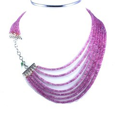 Pink Sapphire Beads Necklace With 925 Sterling Silver Claps Necklaces