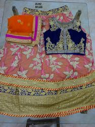 Orange Net Embroidered Lehenga Choli