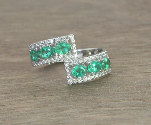 Emerald And Diamond 14K White Gold Ring