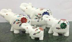Marble Inlay Elephants Home Decoration
