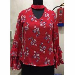 Ladies Red Floral Top