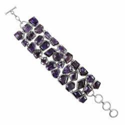 Natural Beauty 925 Sterling Silver Amethyst Bracelet