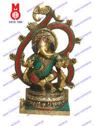 Lord Ganesh Standing W/Om Ring W/ Stone Statue