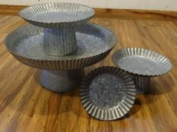 Brass Beaded Galvanized Cake Stand In 4 Different Sizes