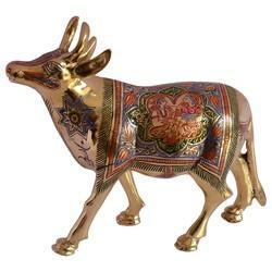 Brass Cow With Painted Work