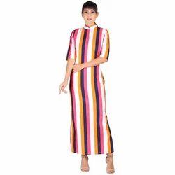 Stripe Maxi Dress For Ladies